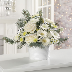 """Glacial White Holiday Bouquet by Eden Florist"""